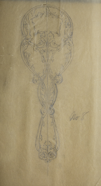 Original Pencil Drawing Of The Back Of An Ornate Hand Mirror On Tracing Paper George R Benda
