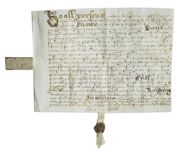 """Document signed (""""Richard Lovelace""""), appointing Isaac Hunt as Lovelace's attorney for the sale of Mungeam farm to John Mungeam of Smarden. Richard Lovelace."""