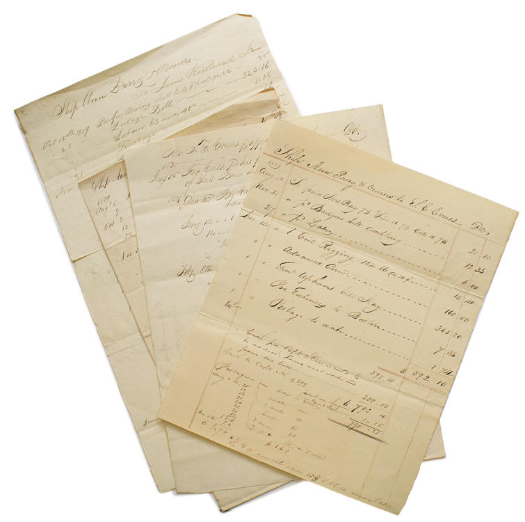 Papers of Shipments and Accounts Paid of the Ship Ann Parry. Including payment to Captain Kinnard of $200 PLUS MORE. Maritime.