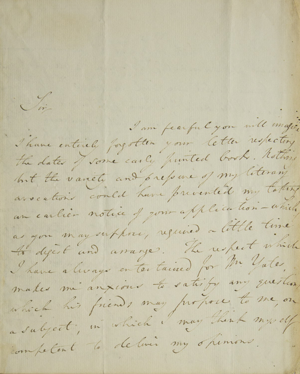 """Autograph Letter, Signed. """"Sir"""" Thomas Frognall Dibdin."""