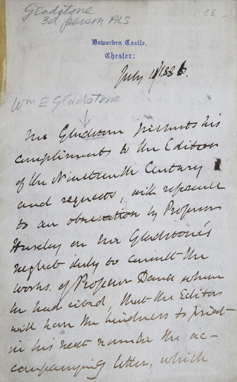 Autograph Letter Signed, in the Third person. To the Editor of the Nineteenth Century and quoting a letter from James D. Dana of New Haven. William E. Gladstone.