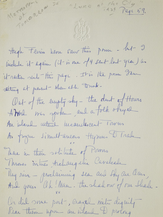 "Manuscript of Poem ""Those of Lucifer"", Signed. Malcolm Cowley."