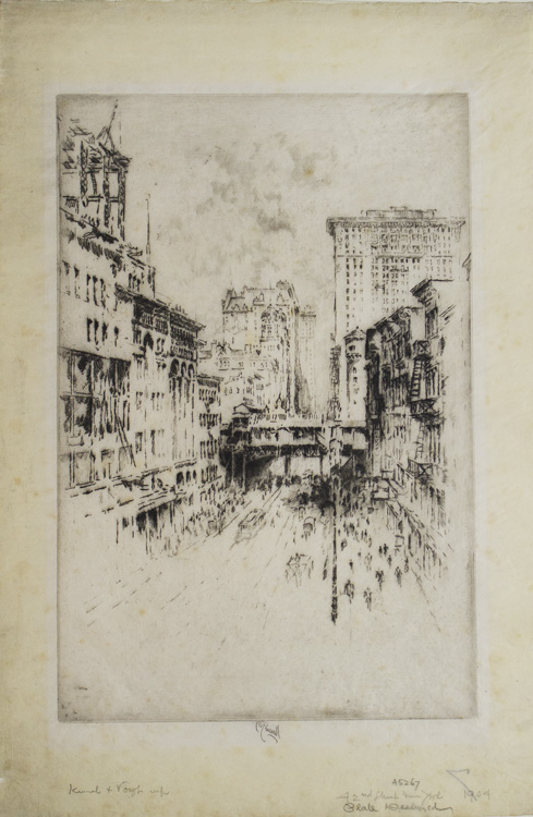 Etching: Forty-Second Street. Joseph Pennell.