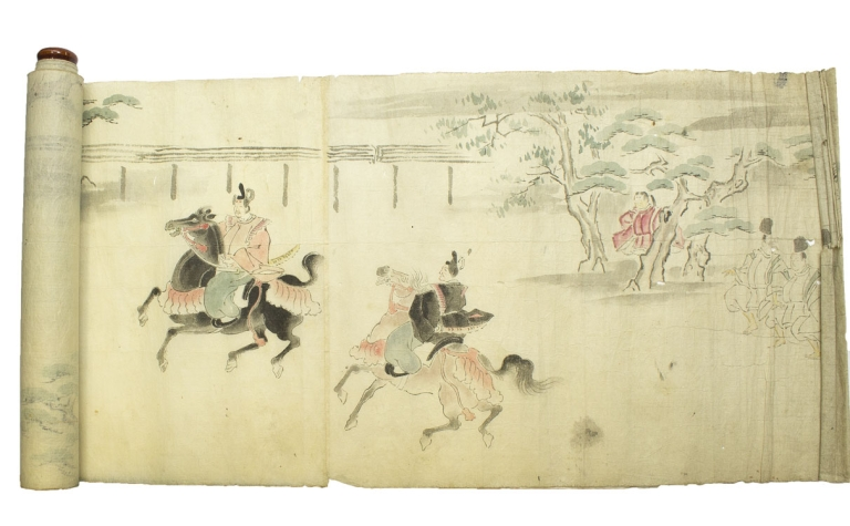 "Decorative scene of a ceremonial horse race, entitled ""Horse,"", ink and colors, , mounted on a wooden roller"