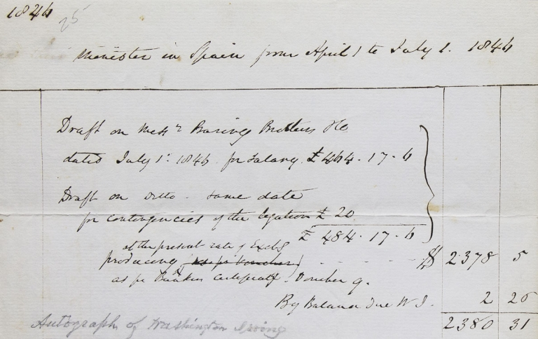 """Autograph Receipt of due salary in the hand of Washington Irving """"Minister in Spain from April 1 to July 1 1844"""" Washington Irving."""
