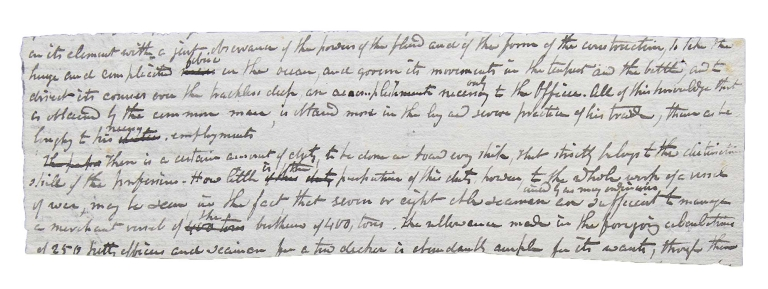 Autograph Manuscript fragment of a magazine article on Naval training. James Fenimore Cooper.
