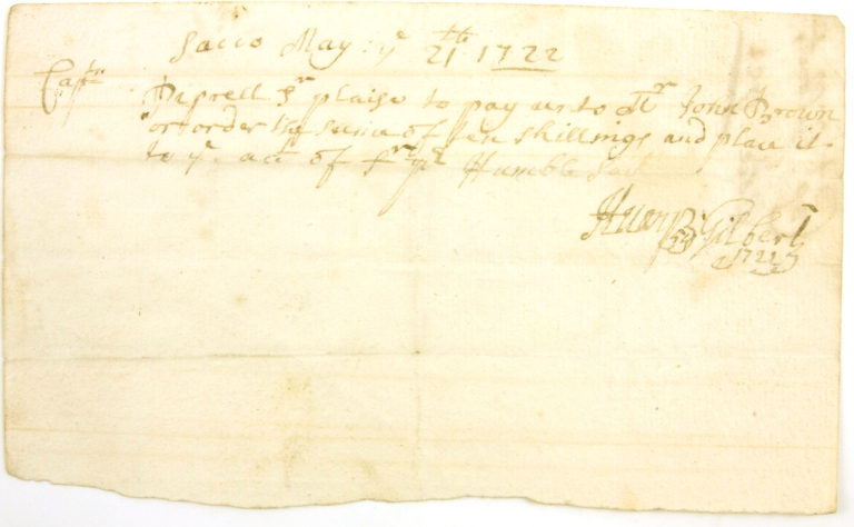 "Autograph Document, Signed (""Henry Gilbert""). To Capt. Pepperell. Henry Gilbert."