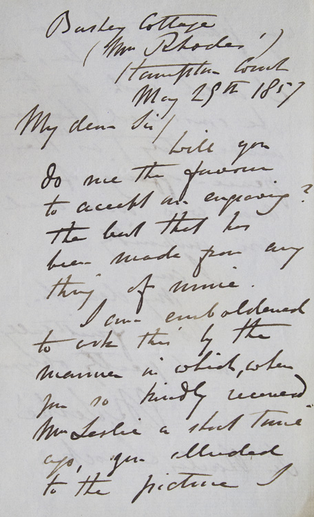 ALS. To Sir Charles Locock, obstretician to Queen Victoria. Asking him to accept an engraving in thanks for attending to Mrs. Leslie. Charles Robert Leslie, R. A.