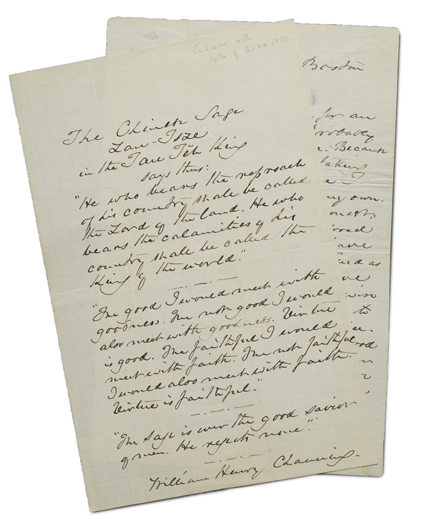 Autograph Letter, signed. Responding for a request for an autograph. William Henry Channing.