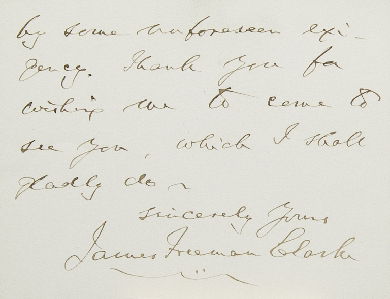 ANS. To Mrs Terry. Accepting invitation to Crawford's lecture. James Freeman Clarke.