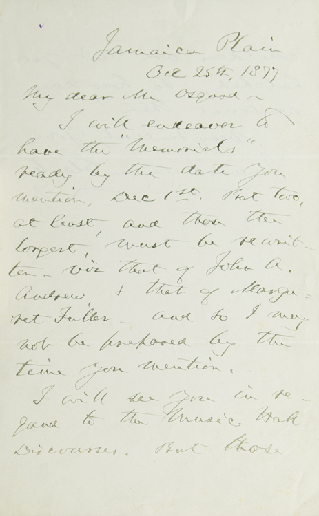 """Autograph Letter, Signed. To Publisher James Osgood about """"Memorials"""" James Freeman Clarke."""