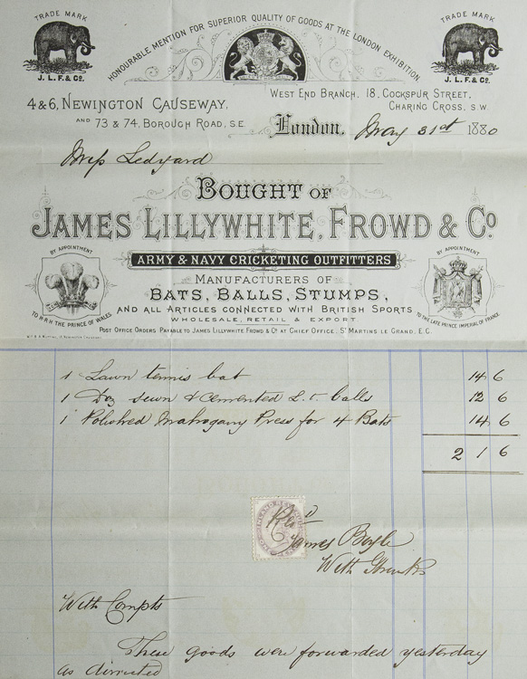 Billhead for James Lillywhite, Frowd & Co., Manufacturers of Bats, Ball, Stumps and all articles connected with British Sports...for lawn Tennis bats, 12 balls and 1 polished mahoghany Press for 4 Bats To Mrs. Ledyard of Newport, Rhode Island. Lawn Tennis.