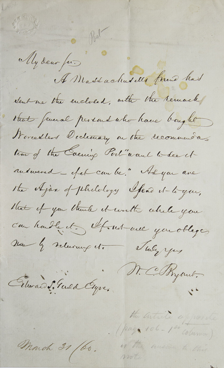 Autograph Letter Signed, to Edward S.[herman] Gould. William Cullen Bryant.