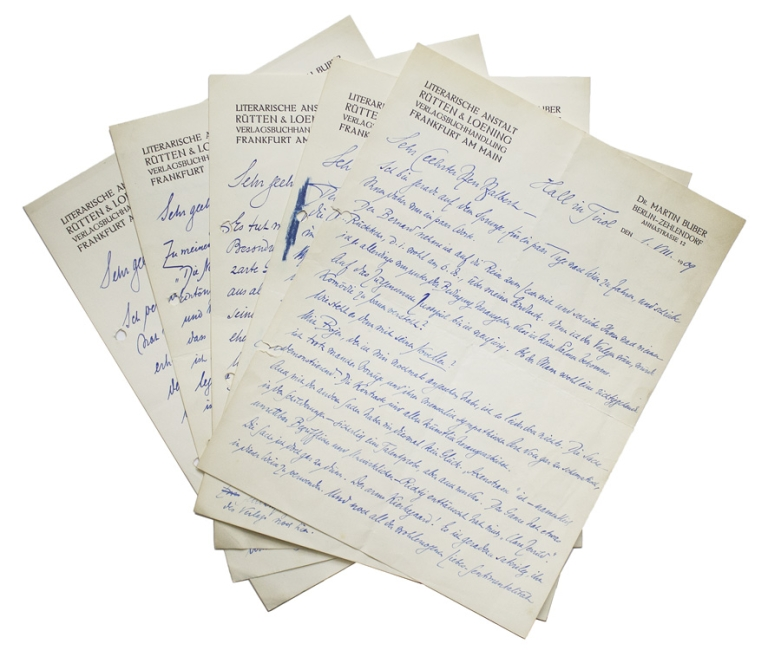 """A collection of 5 Autograph Letters Signed (""""Buber"""") and 1 Autograph Postcard Signed (""""Buber""""), to a Mr. A. Halbert. Martin Buber."""