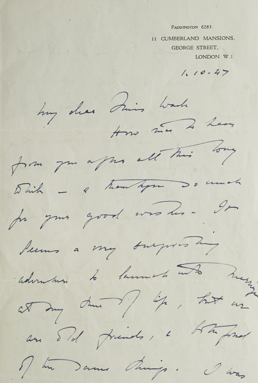 """Autograph Letter, signed (""""Freya Stark""""), to Miss Wade, discussing Stark's impending marriage and other postwar matters, dated 1.10.47. Freya Stark."""