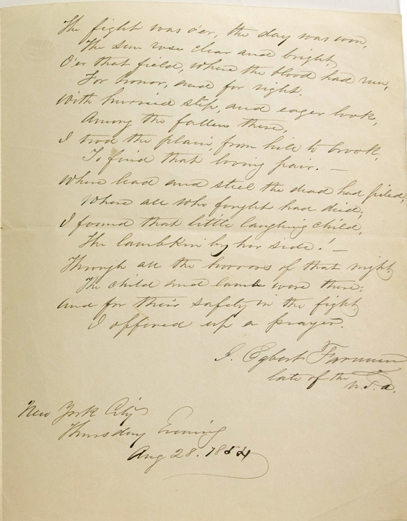 "Autograph Document, Signed, ""J. Egbert Farnum late of the U.S.A."" Being a hand-written poem relating an incident of the Mexican American War. Mexican American War, John Egbert Farnum."