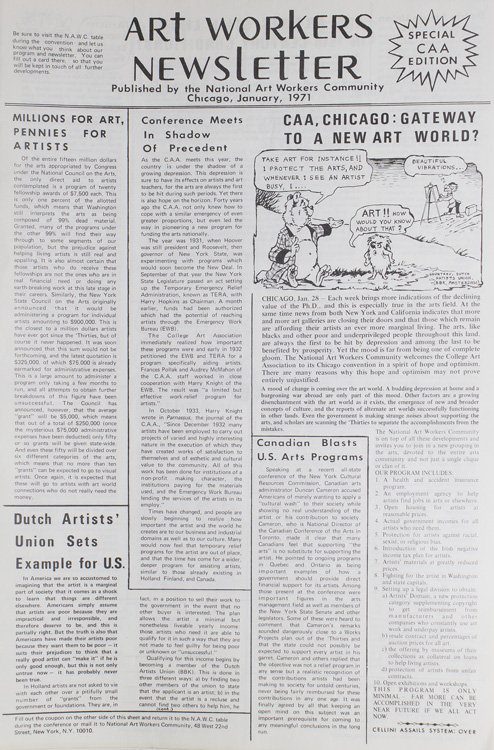 Art Workers Newsletter: Volume 1, No. 1 -Volume 1, No. 4. National Art Workers Community.