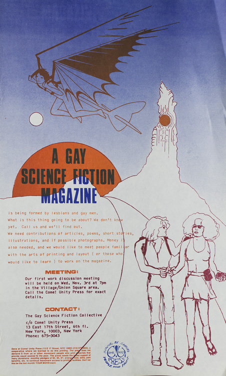 """A Gay Science Fiction Magazine"" COME!UNITY PRESS."