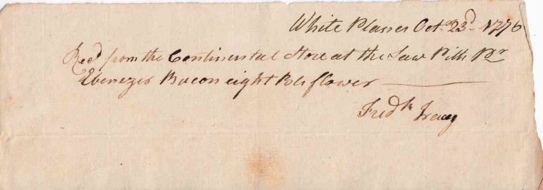 "Autograph Manuscript Receipt, Signed ""Frederick Tracy"" for eight barrels of flour from the Continental Store at the ""Saw Pitts"" American Revolution, Frederick Tracy."