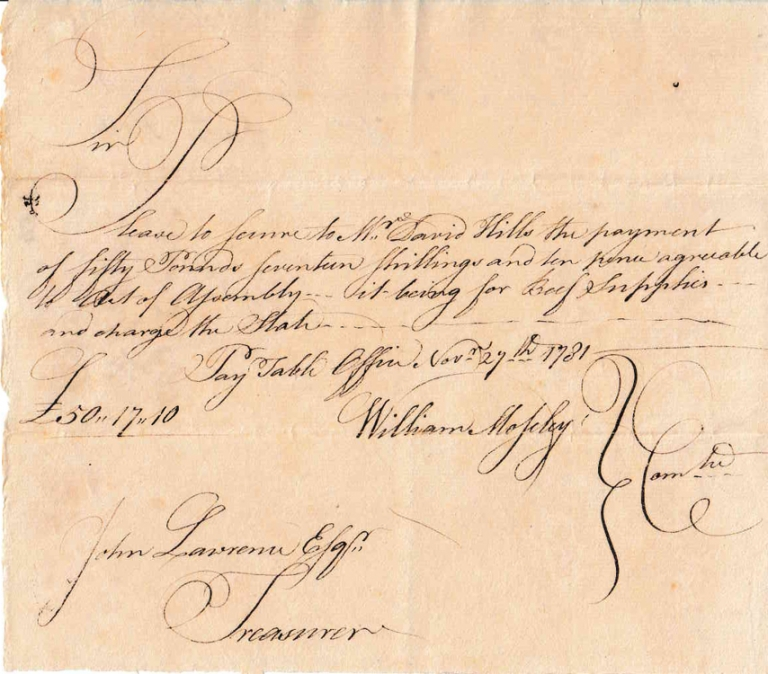 "Autograph Manuscript Order, Signed ""William Moseley"" and ""John Lawrence Esq."" for payment from the State of Connecticut to David Hills for ""Beef Supplies."" American Revolution."