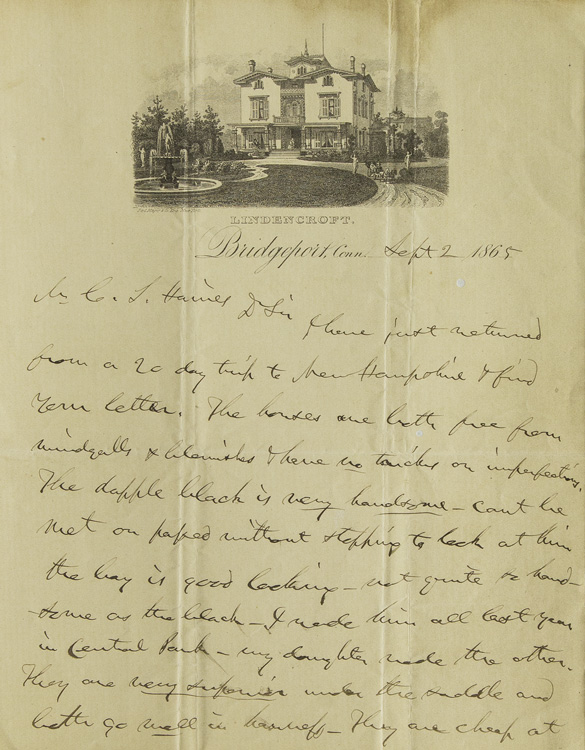 "Autograph Letter Signed (""P.T. Barnum""), to C.J. Haines about horses. Barnum, hineas, aylor."