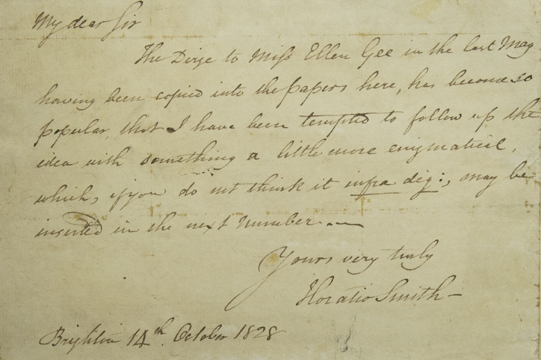 "Autograph Letter Signed (""James Smith""), declining an invitation to attend a performance of Shakespeare. British Romantics, James Smith, Horatio Smith."