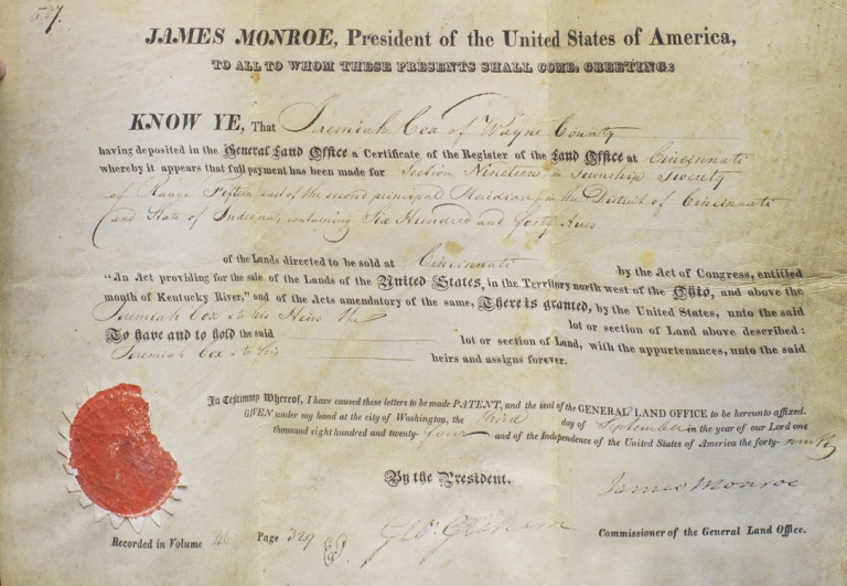 "Document Signed (""James Monroe"") as President, being a land grant for Jeremiah Cox of Wayne County [Indiana]. James Monroe."