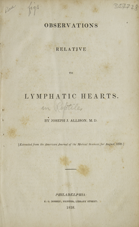 Observations relative to Lymphatic Hearts (in reptiles). Joseph J. Allison, M. D.