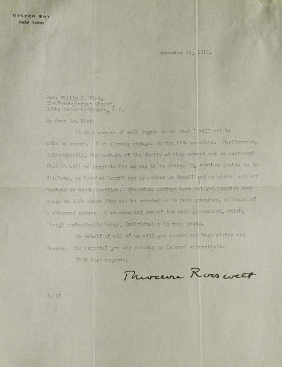 """2 Typed Letters Signed (""""Theodore Roosevelt"""") to Rev. Philip S. Bird. Theodore Roosevelt, Jr."""