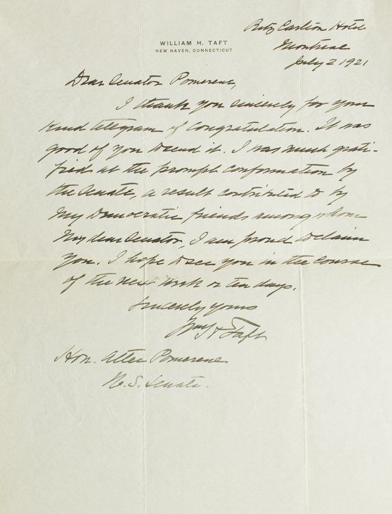 """Autograph Letter Signed (""""Wm H Taft""""), to Senator Pomerene, two days after his appointment as Chief Justice of the U.S. Supreme Court. William Howard Taft."""