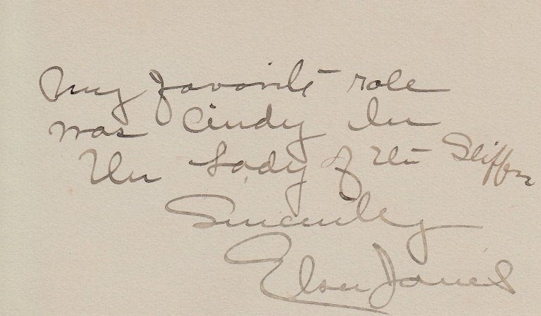 """Autographed Note, Signed """"Elsie Janis"""" Theater, Elsie Janis."""