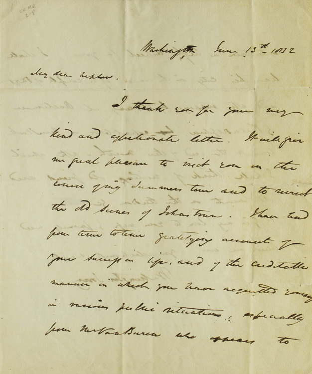 "Autograph Letter Signed (""your affectionate uncle / Washington Irving""), to William Irving Dodge. Washington Irving."