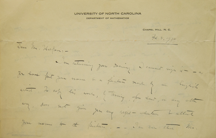 ALS. To Seymour Halpern. Answering question about his success. Archibald Henderson.