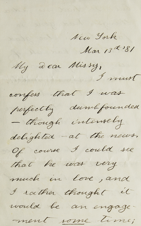 """Autograph Letter Signed (""""Theodore Roosevelt""""), to Harriet Douglas Robinson (""""Dear Missy""""), congratulating her on her engagement to Henry Bazeley Wolryche-Whitmore. Theodore Roosevelt."""
