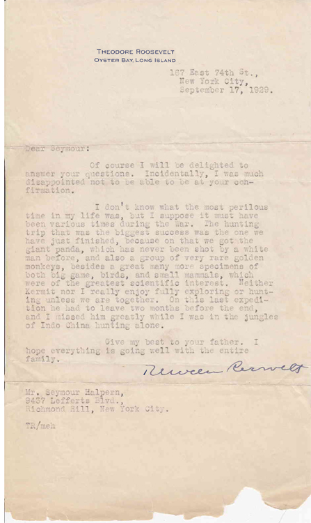"Typed Letter Signed, ""Theodore Roosevelt"" to Seymour Halpern. Theodore Jr Roosevelt."