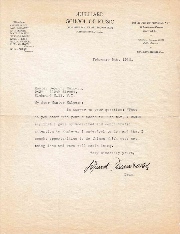 Typed letter signed frank damrosch to seymour halpern master halpern typed letter signed frank damrosch to seymour halpern master halpern thecheapjerseys Images