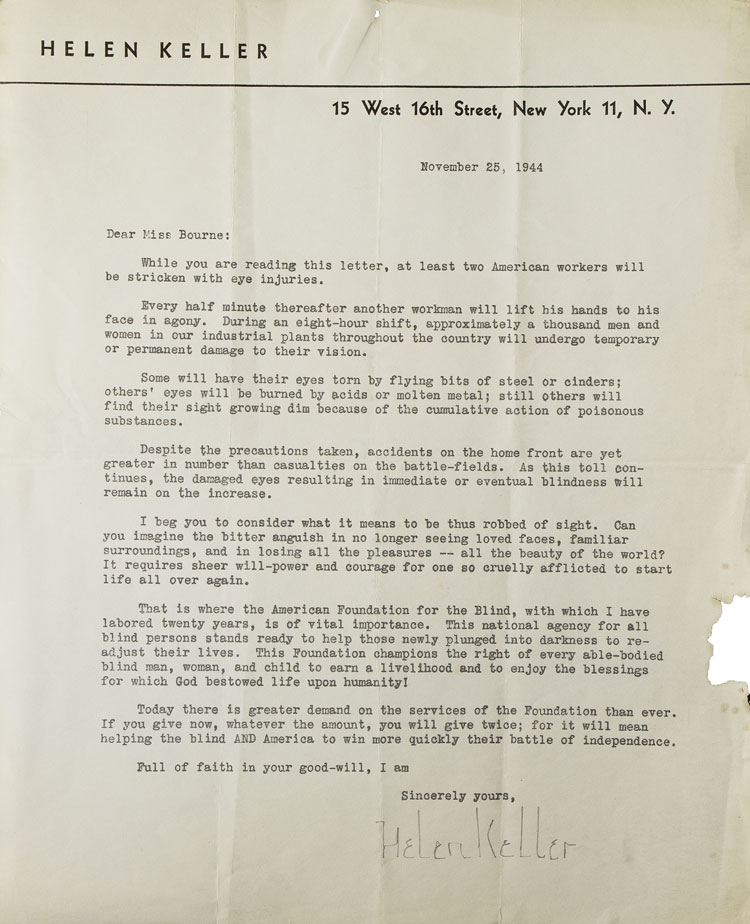 Typed letter signed secretarially, to Miss (Margie) Bourne, soliciting funds for the American Foundation for the Blind. Helen Keller.