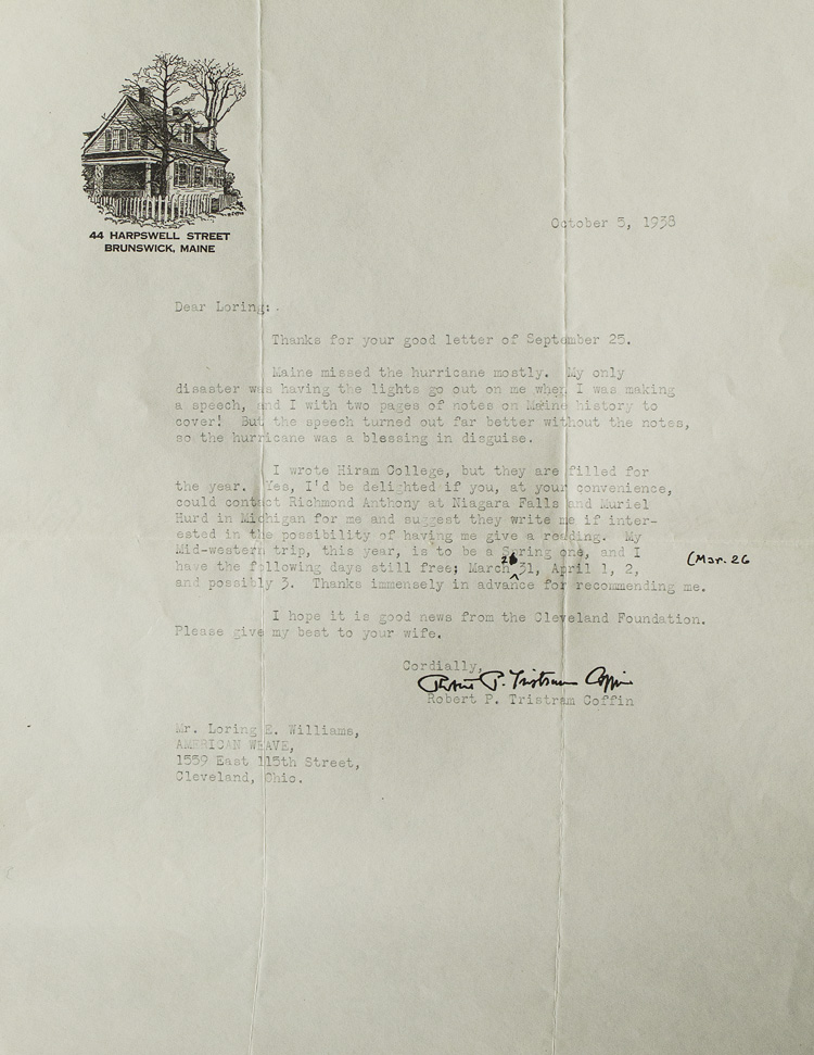 "Typed letter signed (""Robert P. Tristram Coffin""), to Loring Wiliiams of American Weave. Robert P. Tristram Coffin."