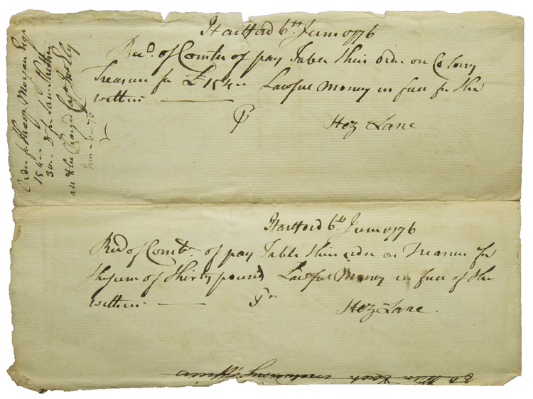 """Autograph Document Signed (""""Wm Williams, Clerk""""), to Connecticut Committee of Pay Table. William Williams."""