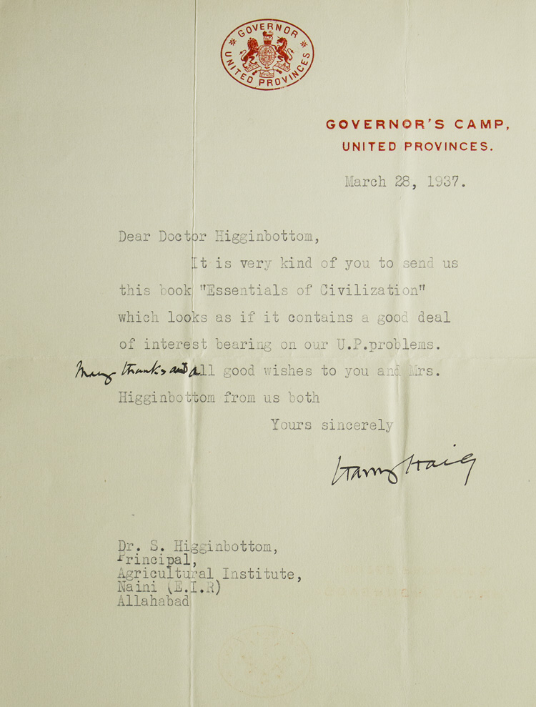 TLS. To Dr. S. Higginbottom, thanking him for a book. Harry Graham Haig.