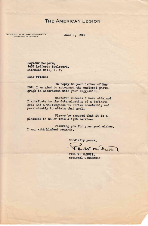 """Typed letter signed """"Paul V McNutt"""" to """"Dear Friend"""" (Seymour Halpern) in response to Halpern's inquiry regarding the key to success in life. Indiana Governor, Paul V. McNutt."""