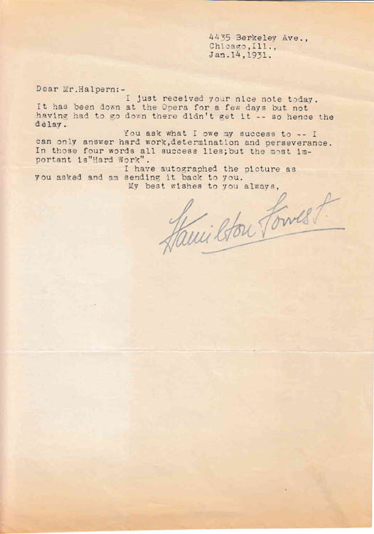 """Typed letter signed """"Hamilton Forrest"""" to """"Mr. Halpern"""" (Seymour Halpern) in response to Halpern's inquiry regarding the key to success in life. Composer, Hamilton Forrest."""