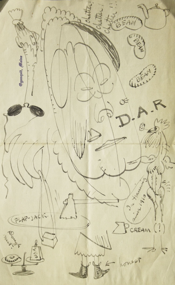 """Autograph letter, signed (""""W.K.""""), illustrated with ink, pencil and watercolor drawings, about mosquitoes on Long Island. Walt Kuhn."""