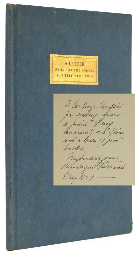 A Letter from George Inness to Ripley Hitchcock. George Inness.