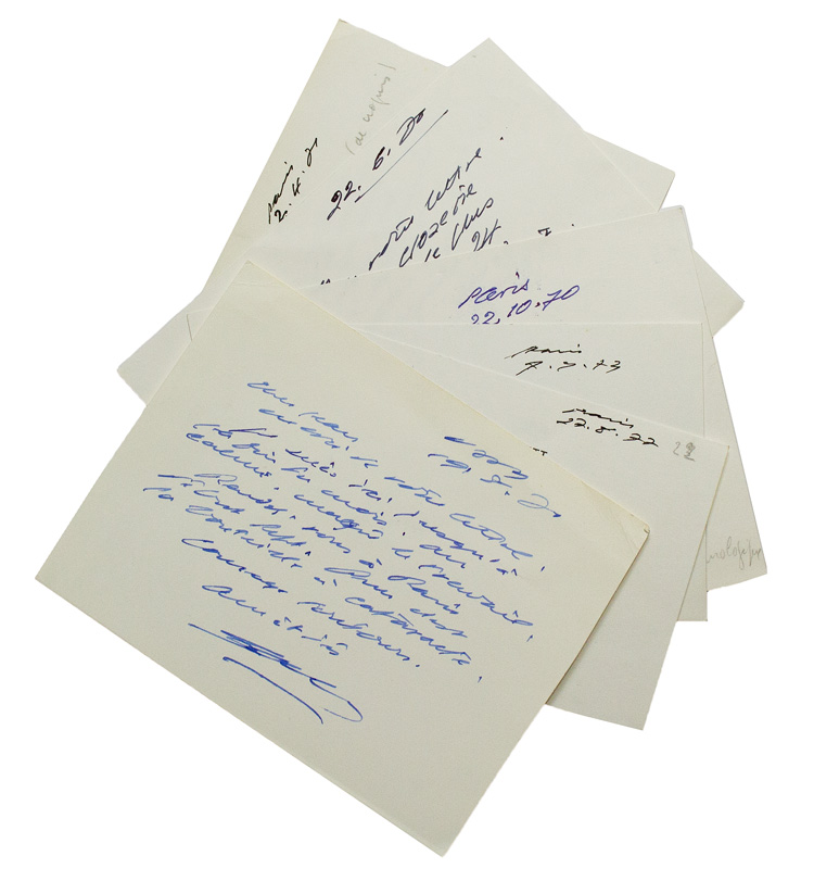 "Collection of 6 autograph postcards signed and 1 autograph letter signed (""Sam""), to Jean [Demélier]. Samuel Beckett."