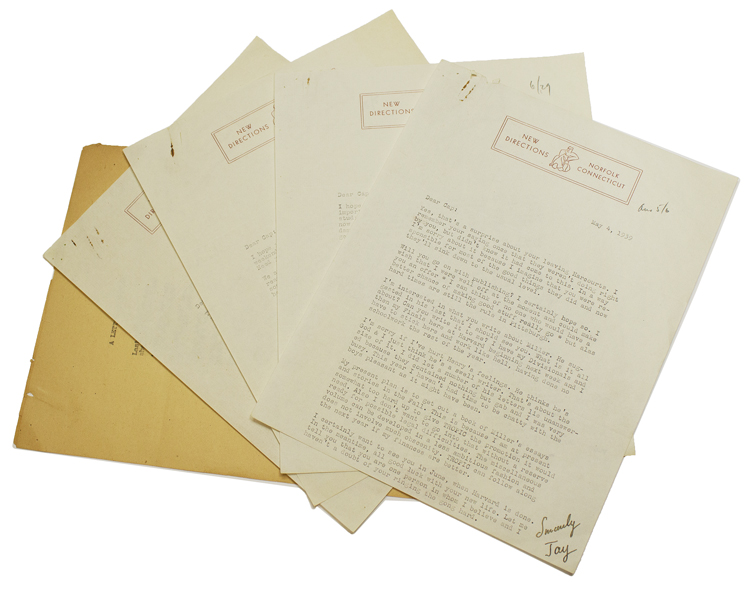 "A collection of 4 typed letters signed (""Jay""), one typed postcard signed and one autograph postcard signed, to fellow publisher Charles A. Pearce. James Laughlin."