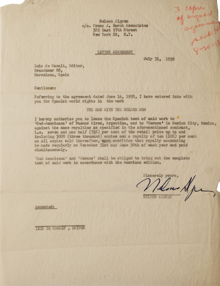 """Typed agreement signed (""""Nelson Algreen""""), regarding rights for a Spanish language edition of The Man with the Golden Arm. Nelson Algren."""