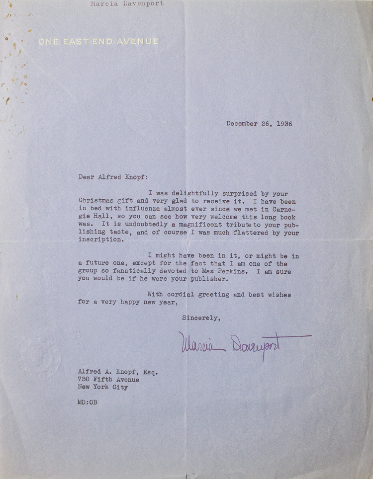 "Typed letter signed (""Marcia Davenport""), to Alfred Knopf. Marcia Davenport."