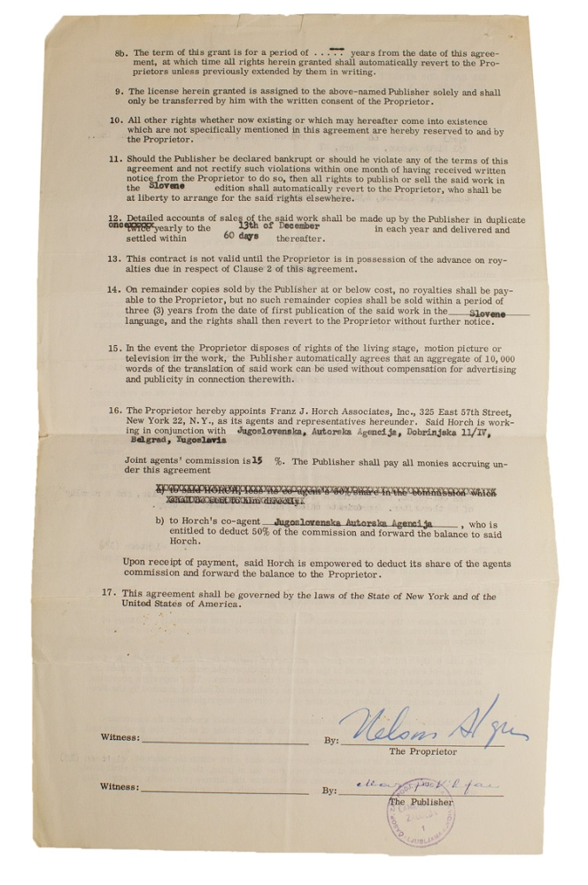 "Contract signed ""Nelson Algren"", for a Slovene language edition of Never Come Morning. Nelson Algren."