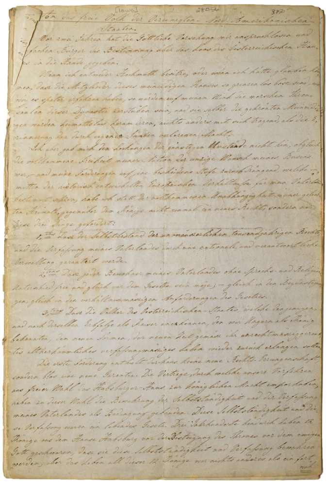 "[Manuscript in German of Kossuth's Appeal for Hungarian Freedom, Titled ""An Das Freie Volk der Vereinigten-Nord-Amerikanischen Staaten,"" Prepared By Ladislaus Ughazi, a Hungarian Exile Living in New-Buda, Iowa]. Iowa, Louis Kossuth, Ladislaus UGHAZI."